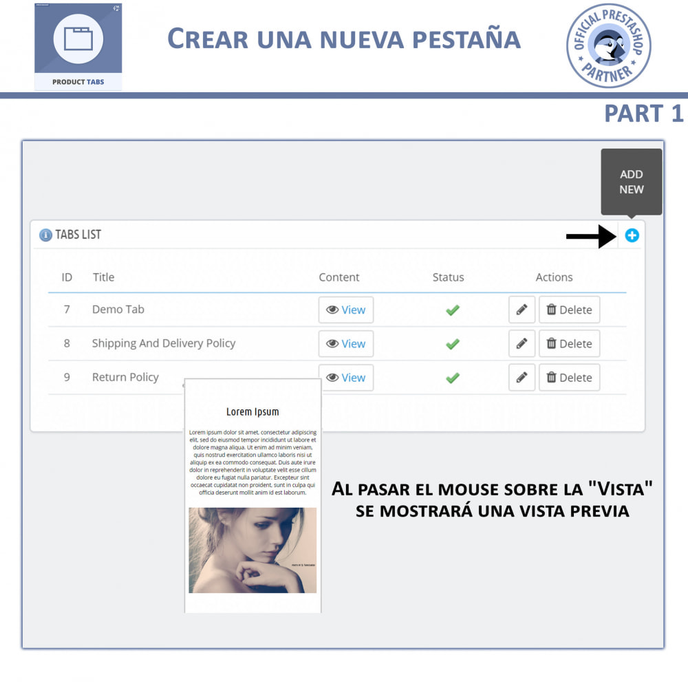 module - Informaciones adicionales y Pestañas - Módulo de Pestañas de Productos - 6