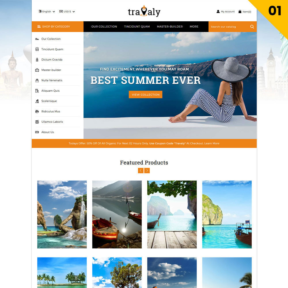 theme - Спорт и Путешествия - Travaly  -The Tourism Store - 3