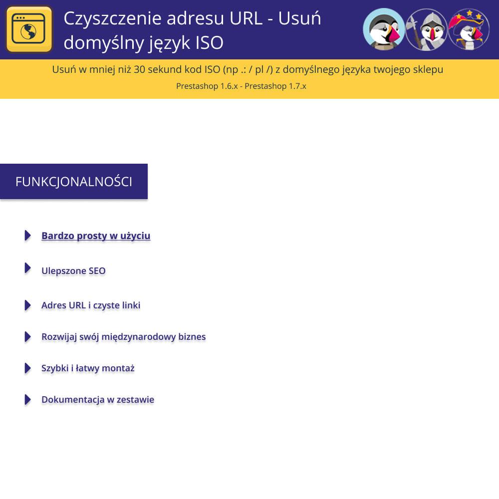 module - URL & Przekierowania - URL Cleaner - Usuń język domyślny Iso - 1