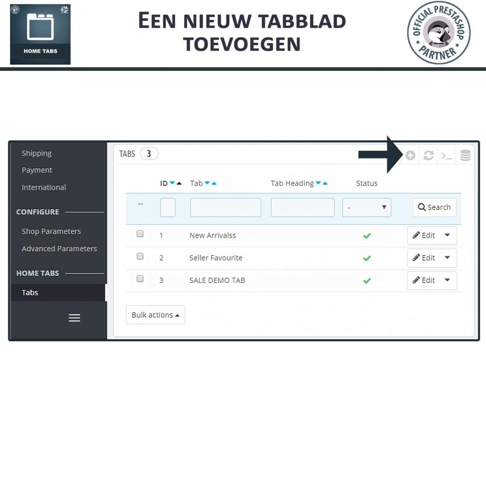 module - Blokken, Tabbladen & Banners - Home-Tabbladen - Voeg aangepaste tabbladen toe - 5