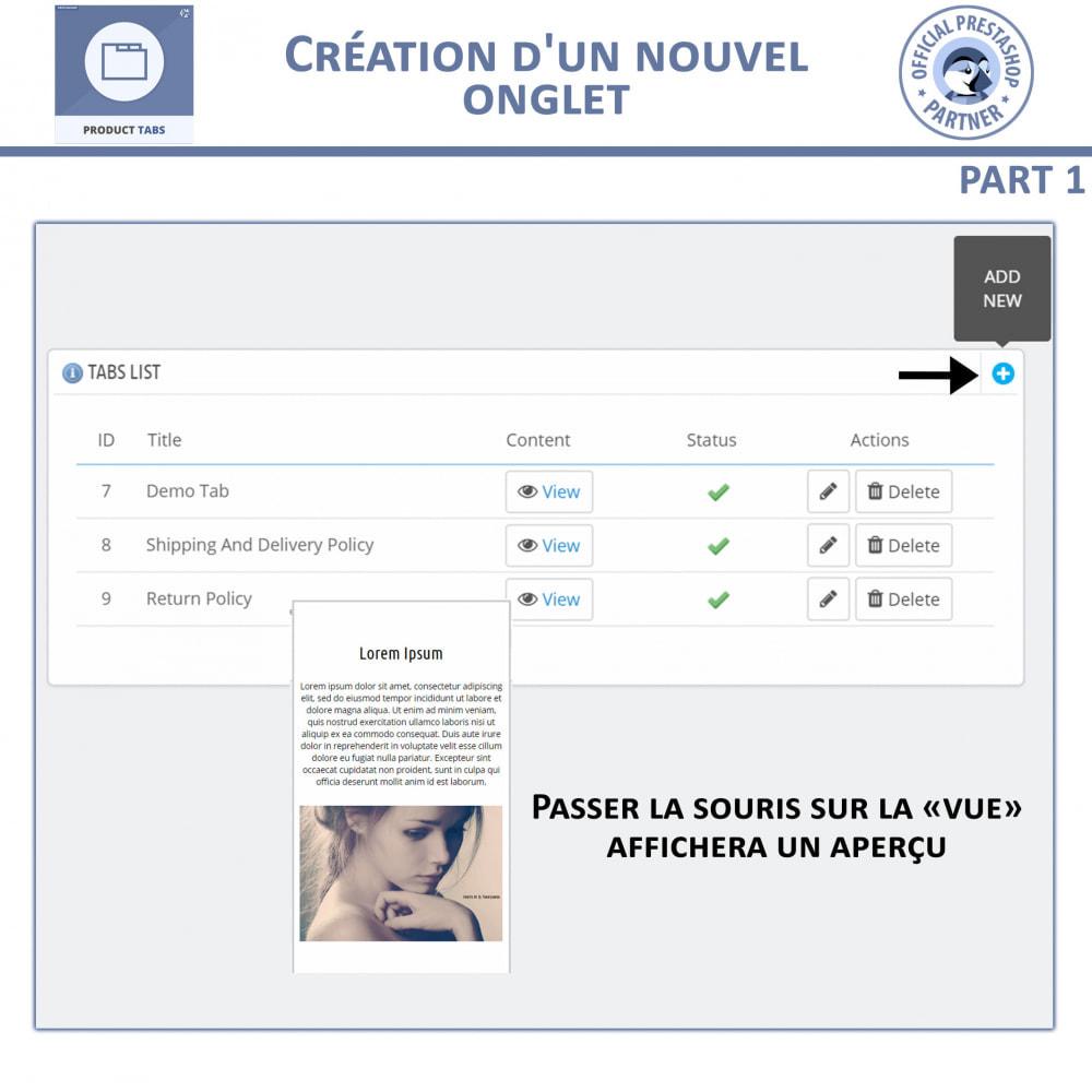 module - Information supplémentaire & Onglet produit - Onglets de Produits - 6