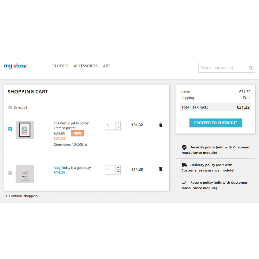 module - Anmeldung und Bestellvorgang - Partial order: checkboxes in Cart - 1