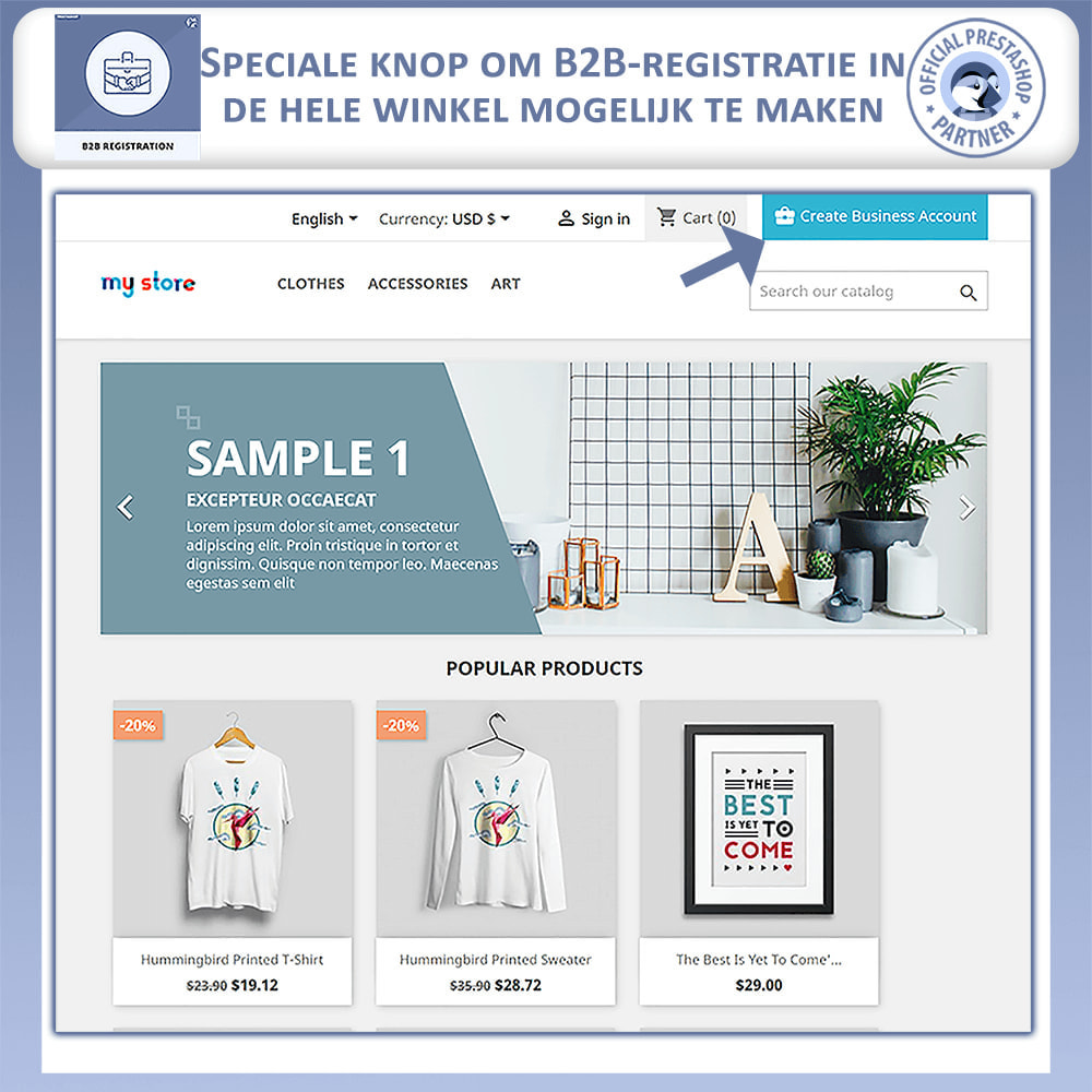 module - Registratie en Proces van bestellingen - B2B Registratie - 2