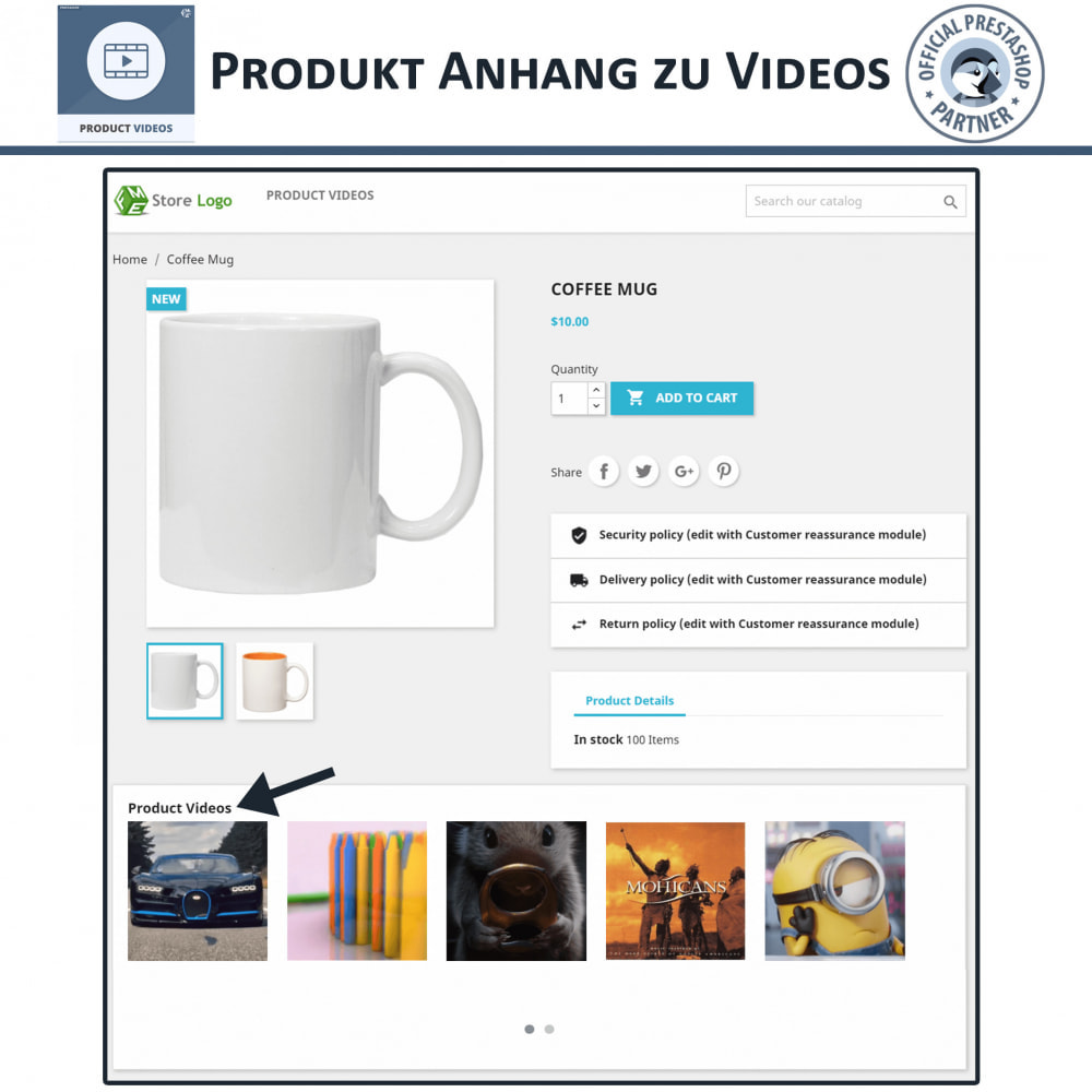module - Videos & Musik - Product Videos - Upload or Embed YouTube, Vimeo - 4