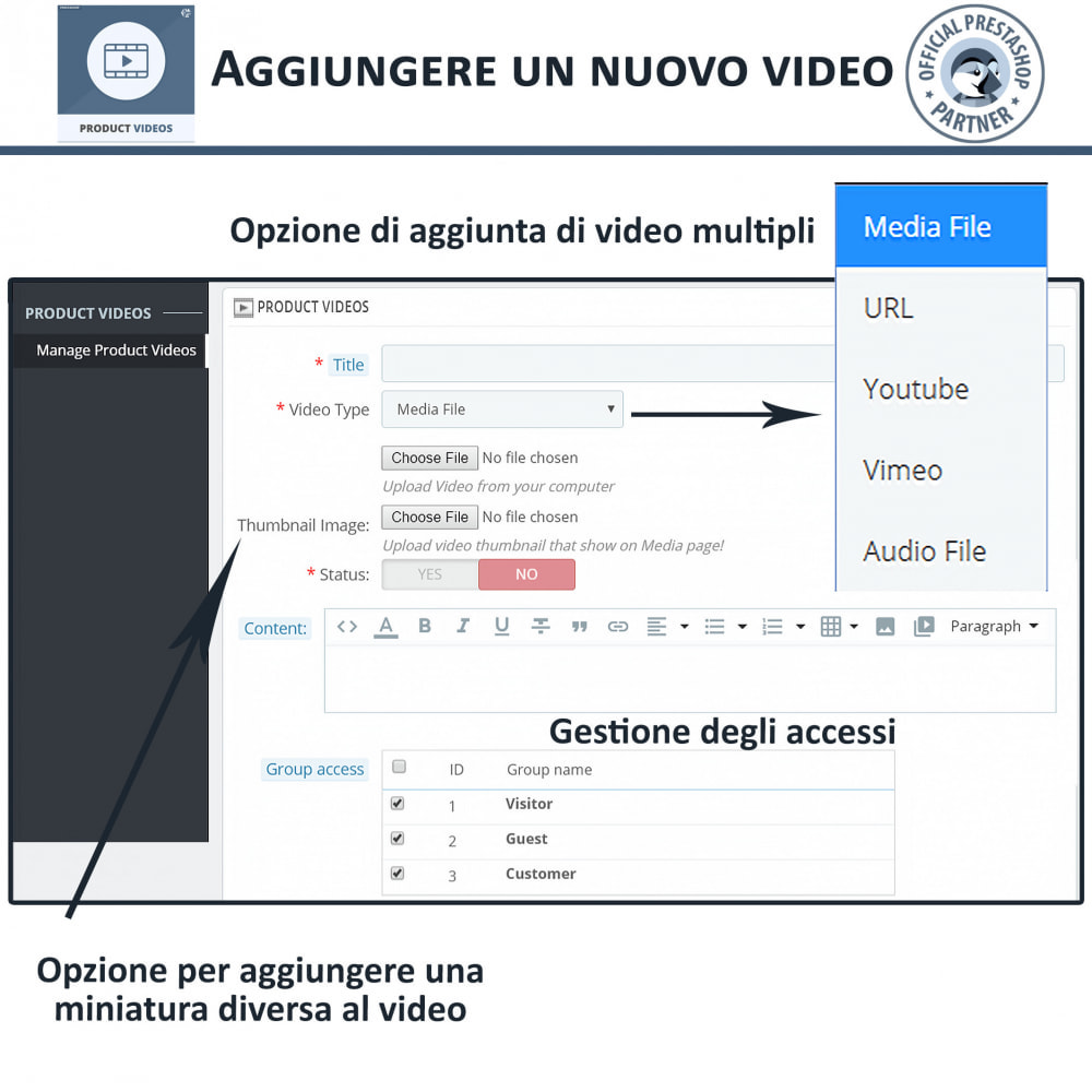 module - Video & Musica - Product Videos - Upload or Embed YouTube, Vimeo - 11