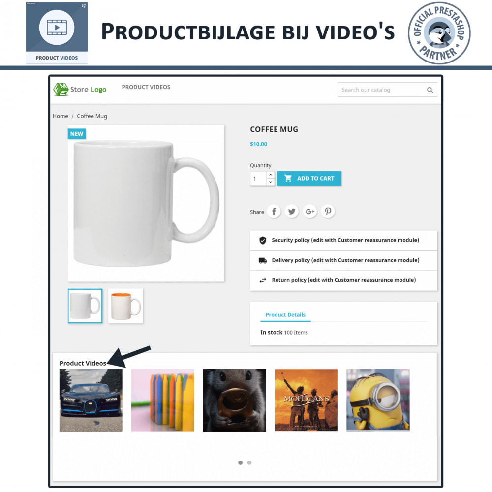 module - Video's & Muziek - Product Videos - Upload or Embed YouTube, Vimeo - 4