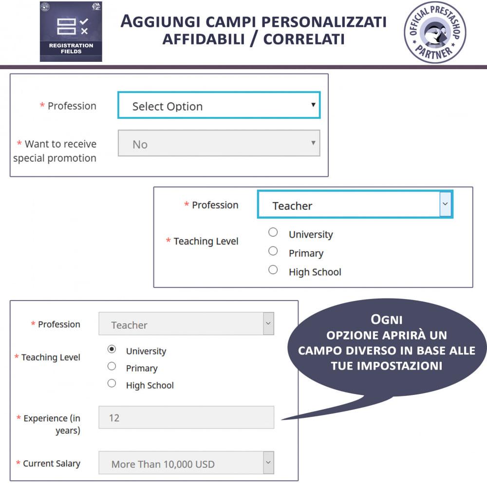 module - Iscrizione e Processo di ordinazione - Campi di Registrazione Personalizzati - Convalida - 3