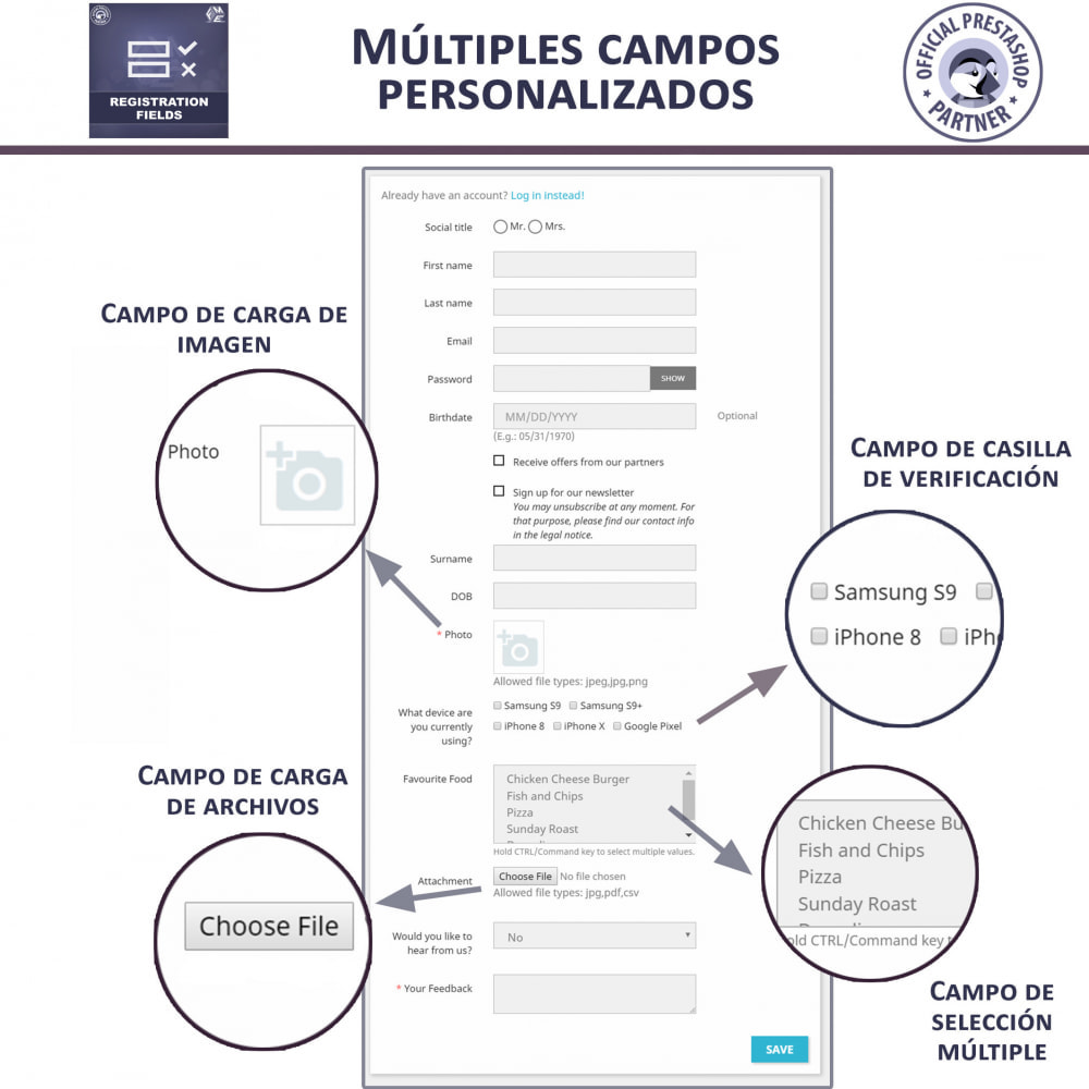 module - Inscripción y Proceso del pedido - Campos de Registro Personalizados - Validación - 2