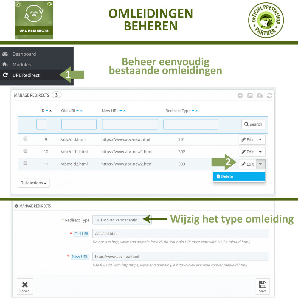 module - URL & Omleidingen - URL-Omleidingen - 301, 302, 303 Omleidingen en 404-URL - 3