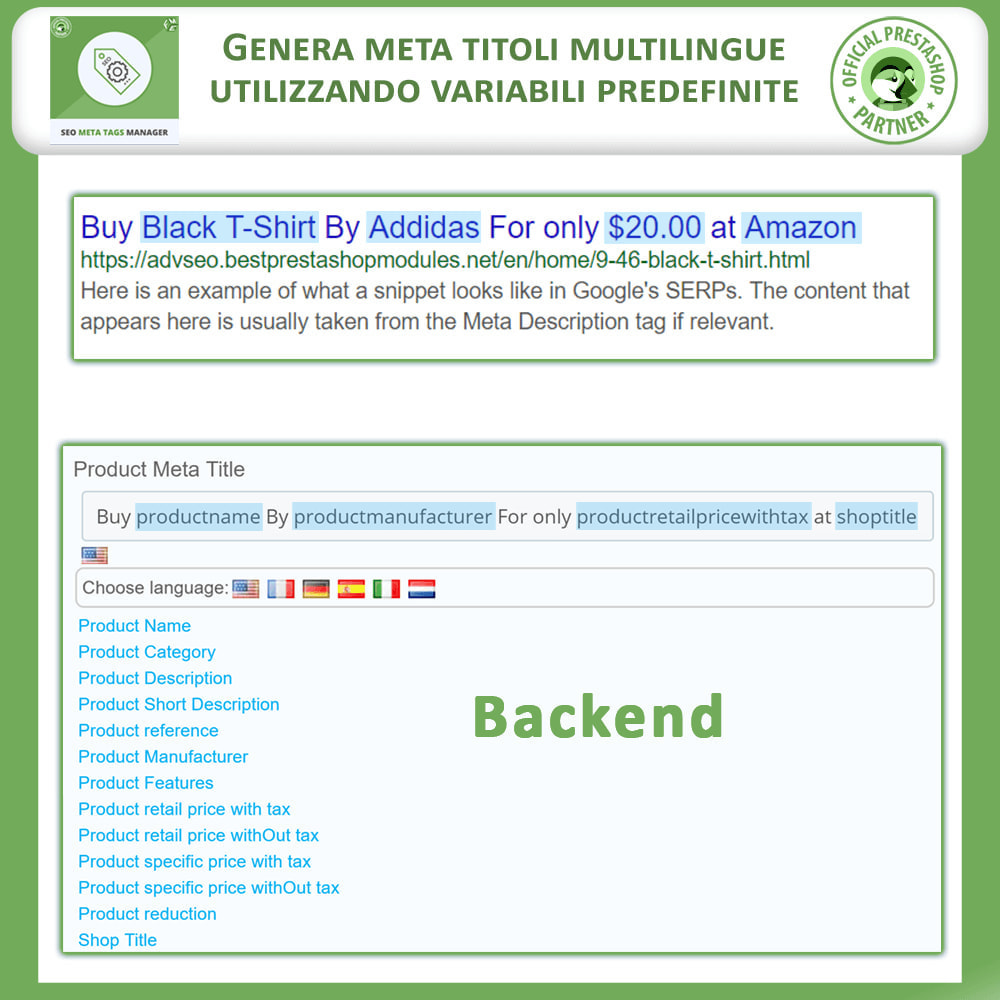 module - SEO (Indicizzazione naturale) - Meta Tag Manager - 3