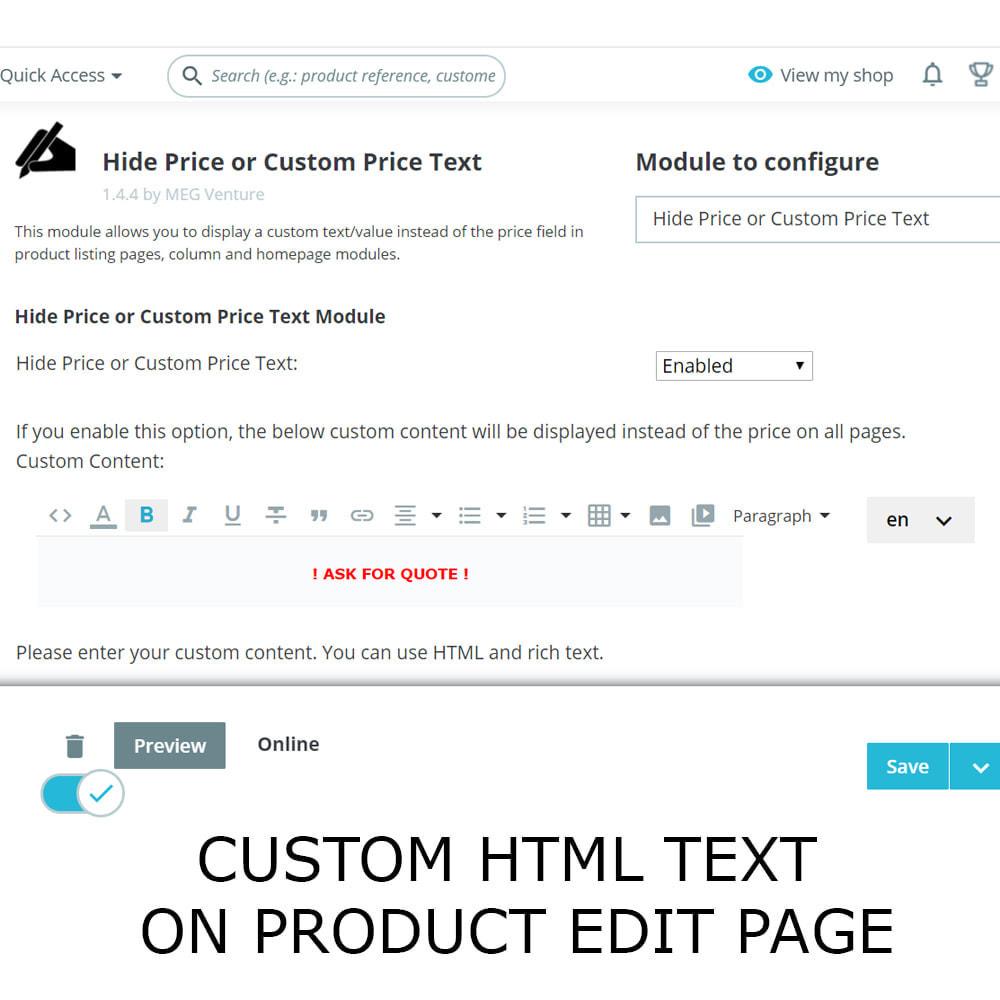 module - Gestão de preços - Ocultar texto do preço ou preço personalizado - 3