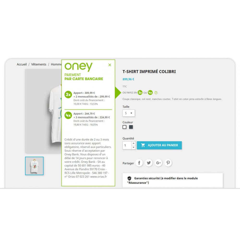 module - Autres moyens de paiement - 3x 4x Oney – Paiement 3 et 4 fois par carte bancaire - 5