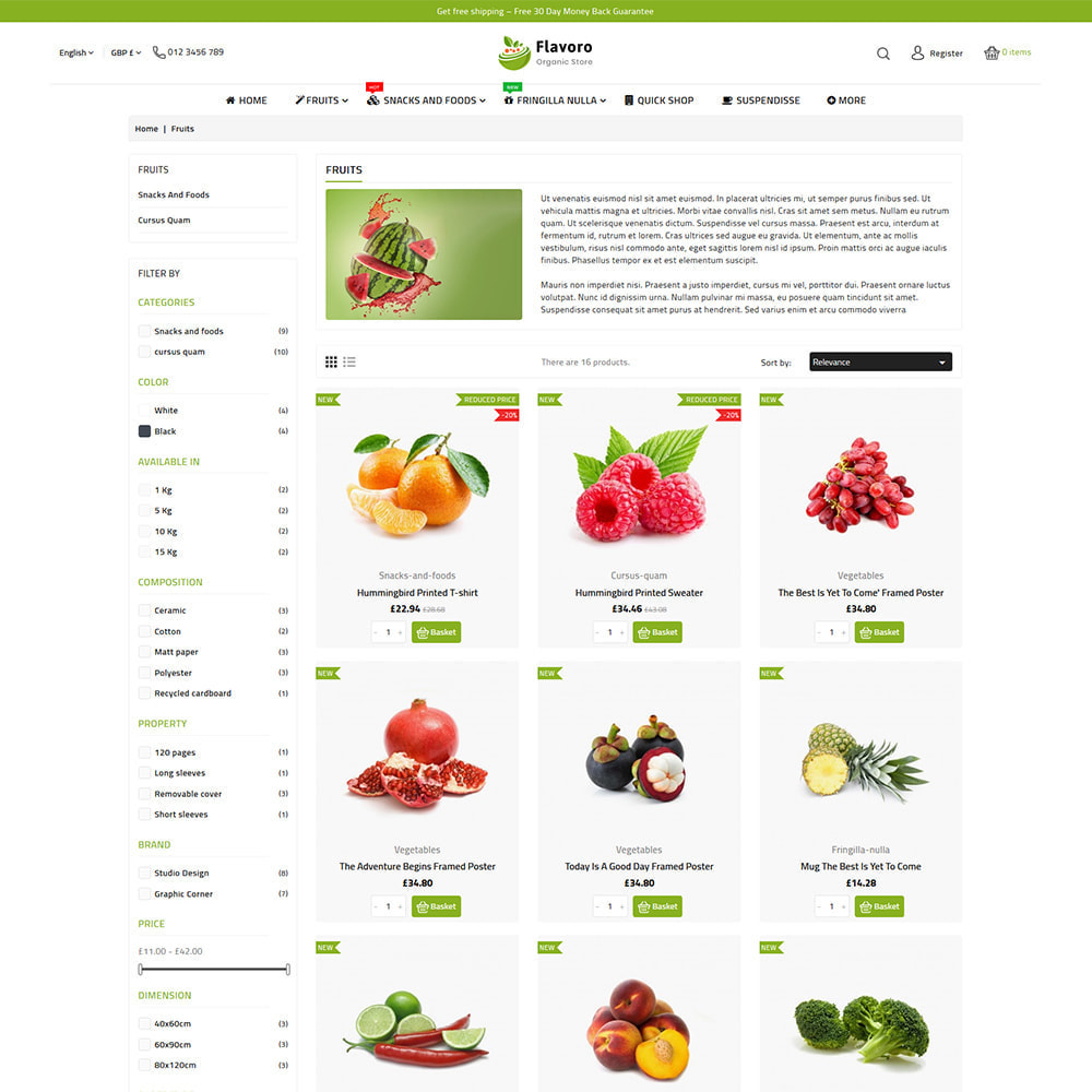 theme - Eten & Restaurant - Flavoro - Fresh Organic Food Delivery Store - 9