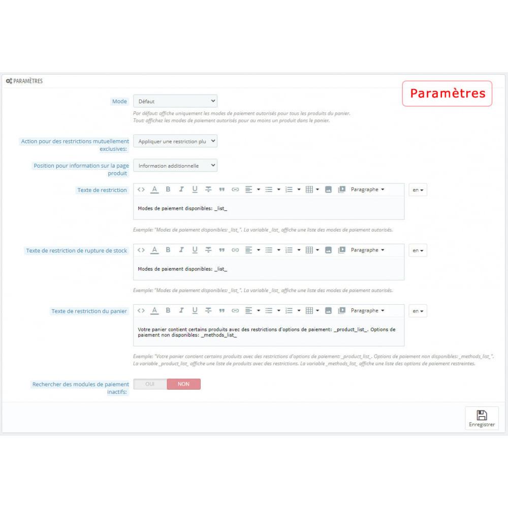 module - Autres moyens de paiement - Restriction des modes de paiement par produit/catégorie - 2