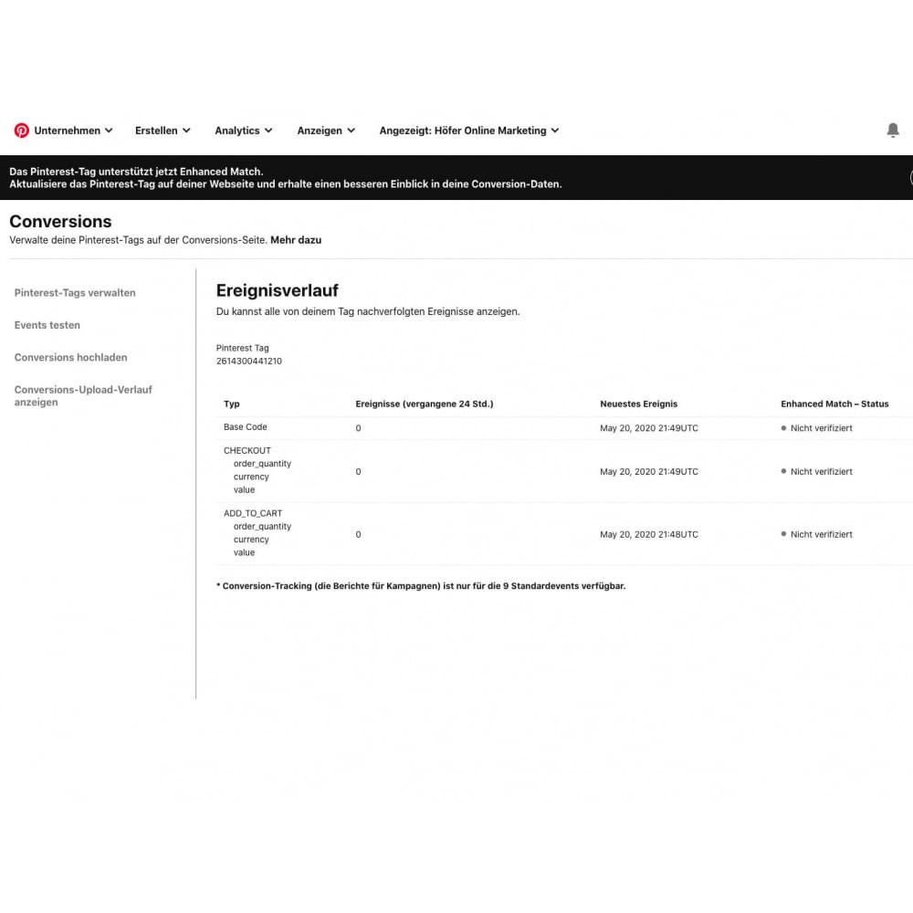 module - Analyses & Statistieken - Pinterest Tag Tracking - 3