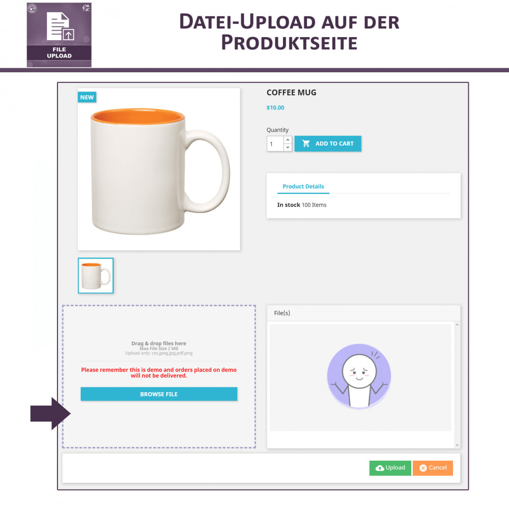 module - Zusatzinformationen & Produkt-Tabs - Datei-Upload durch den Kunden - 2