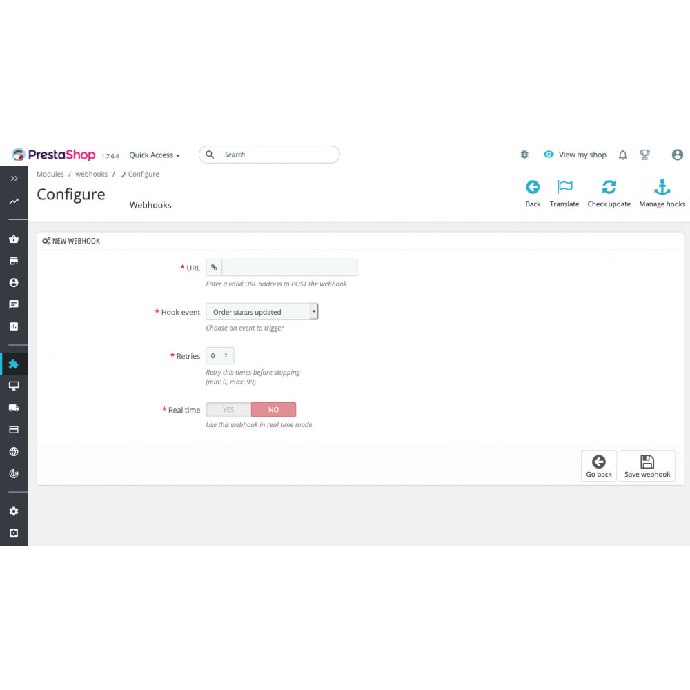 module - Integración con CRM, ERP... - Webhooks integration - 2