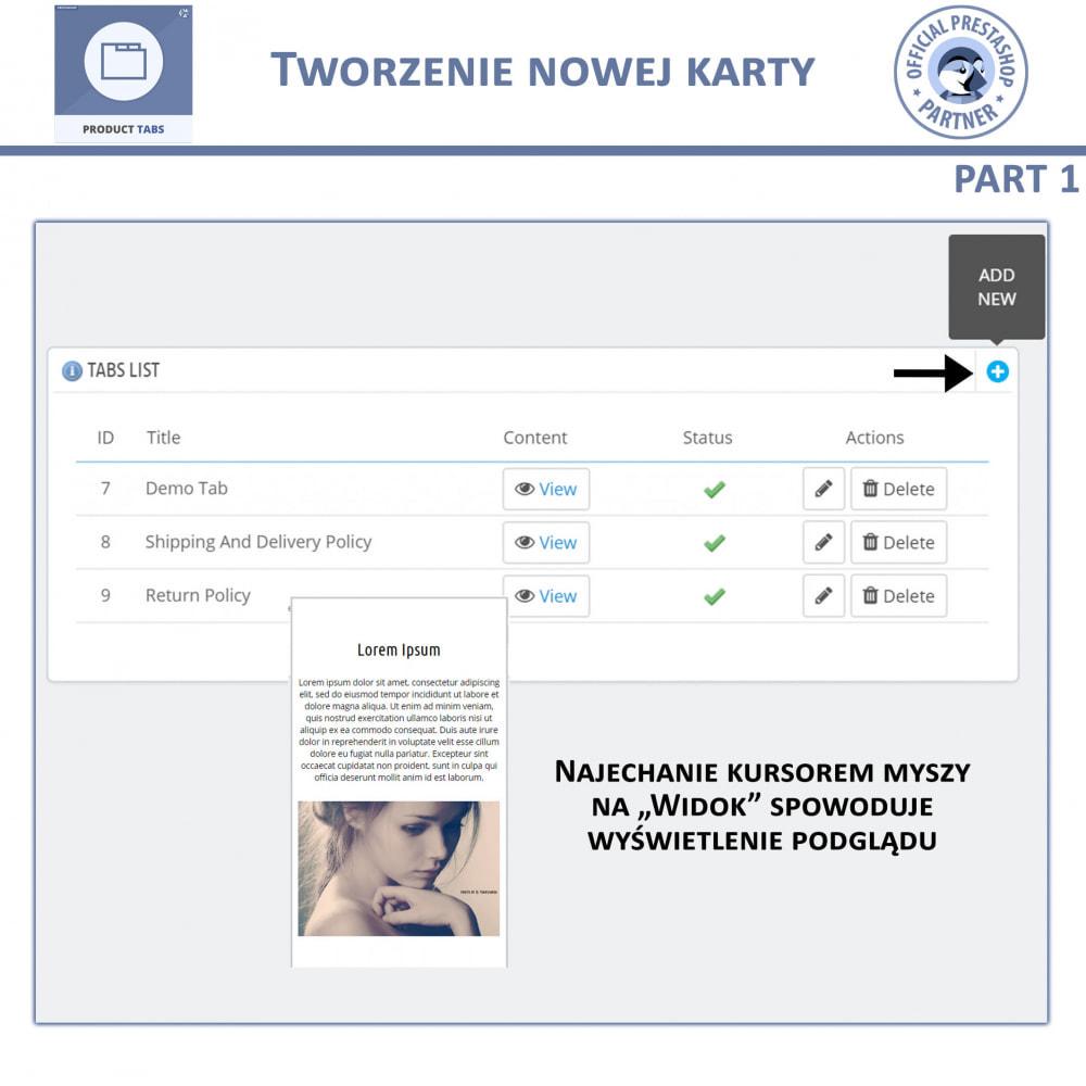 module - Dodatkowe informacje & Zakładka produktu - Karty produktu - Dodaj dodatkowe Karty Niestandardowe - 6