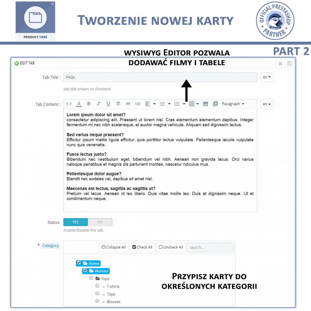 module - Dodatkowe informacje & Zakładka produktu - Karty produktu - Dodaj dodatkowe Karty Niestandardowe - 7