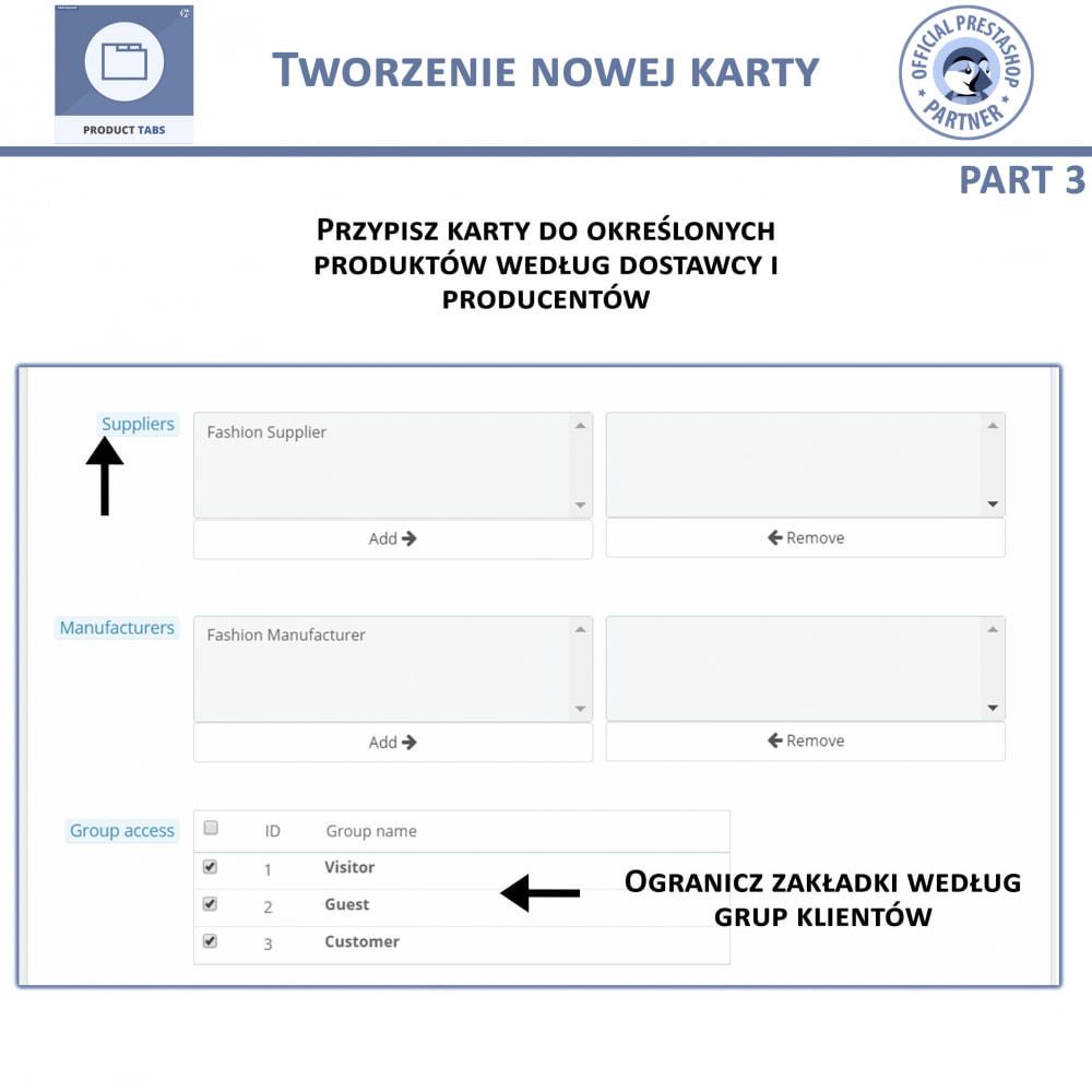 module - Dodatkowe informacje & Zakładka produktu - Karty produktu - Dodaj dodatkowe Karty Niestandardowe - 8