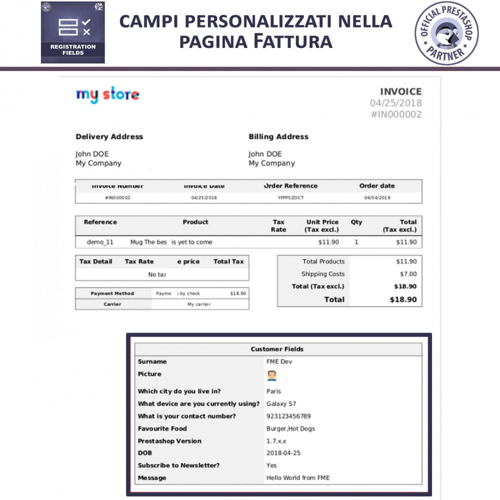 module - Iscrizione e Processo di ordinazione - Campi di Registrazione Personalizzati - Convalida - 6