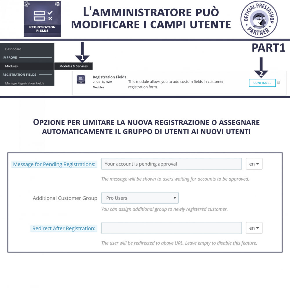 module - Iscrizione e Processo di ordinazione - Campi di Registrazione Personalizzati - Convalida - 7