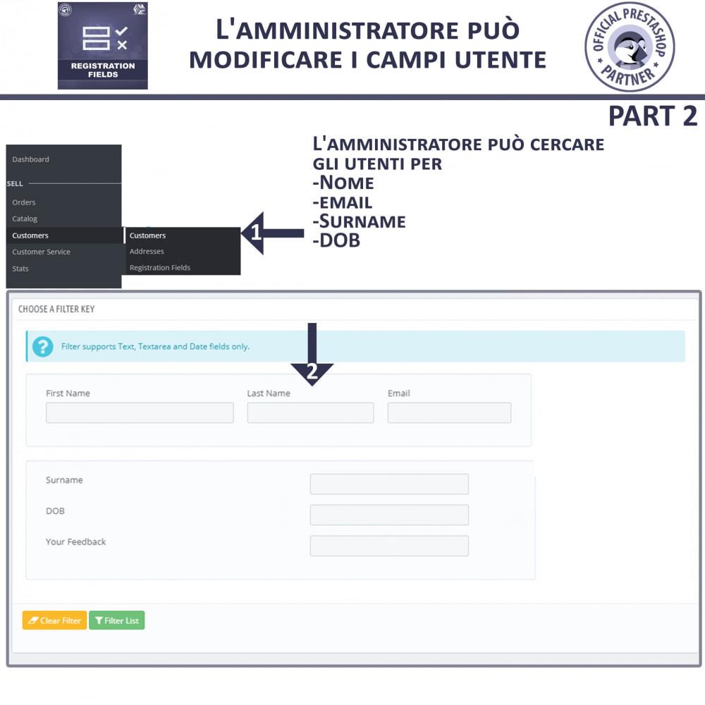 module - Iscrizione e Processo di ordinazione - Campi di Registrazione Personalizzati - Convalida - 8