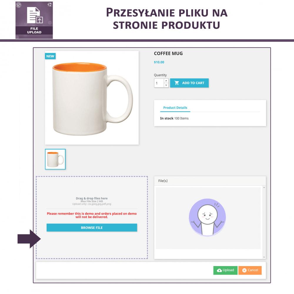 module - Dodatkowe informacje & Zakładka produktu - Przesyłanie Pliku Przez Klienta z Produktu, Cart - 2