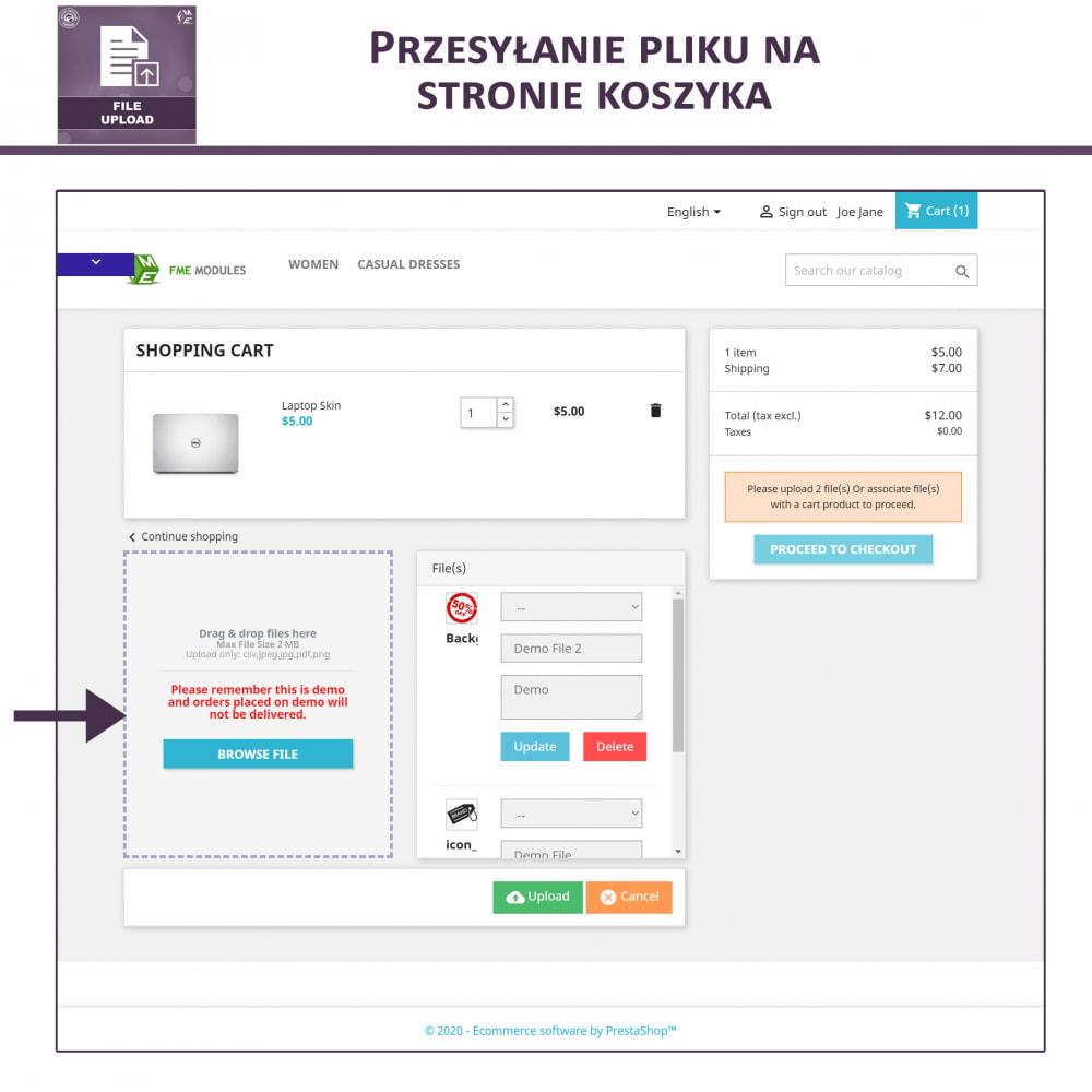 module - Dodatkowe informacje & Zakładka produktu - Przesyłanie Pliku Przez Klienta z Produktu, Cart - 4