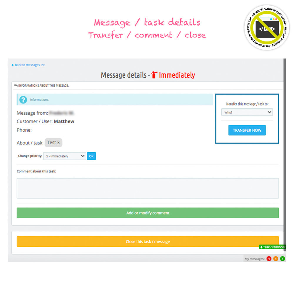 module - Amministrazione - Todo, tasks, internal messages from backend - 4