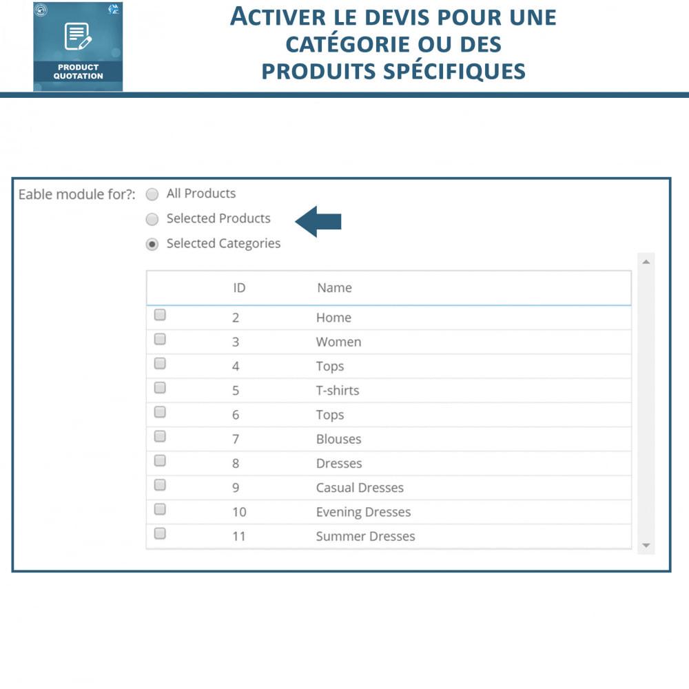 module - Devis - Devis Produit, Autoriser le client à demander un devis - 8