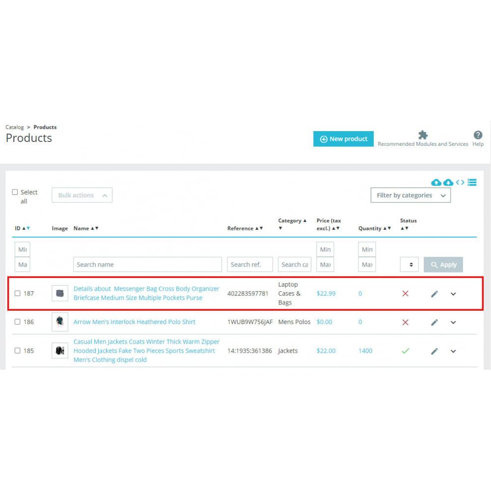 module - Importación y Exportación de datos - Advanced Ebay Product Importer & Affiliate - 5