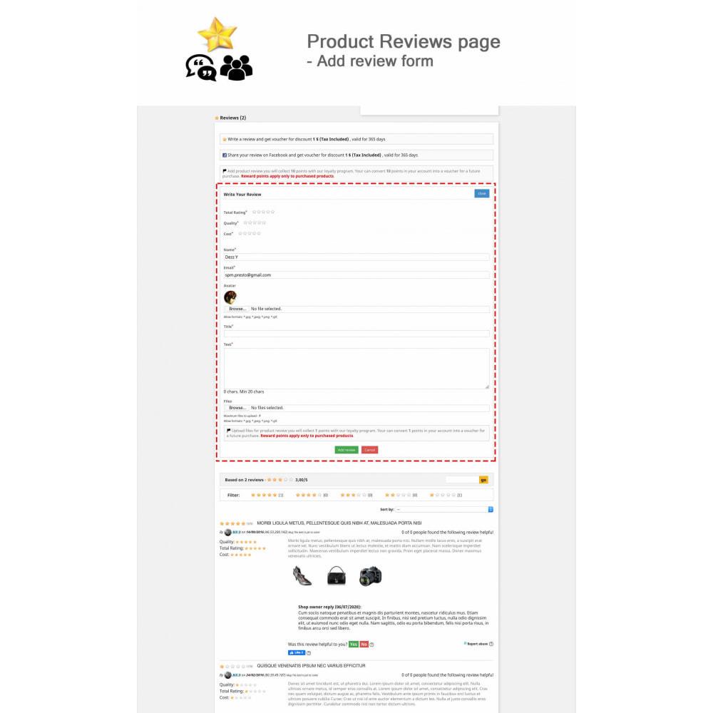 module - Recensioni clienti - Product Reviews+Shop Reviews, Loyalty Program, Reminder - 2