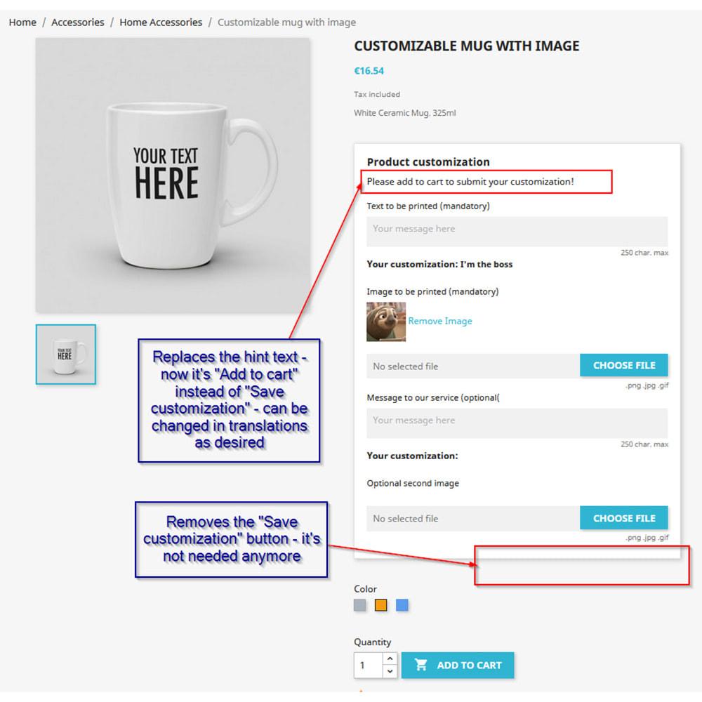module - Combinations & Product Customization - Customization directly into cart - 1