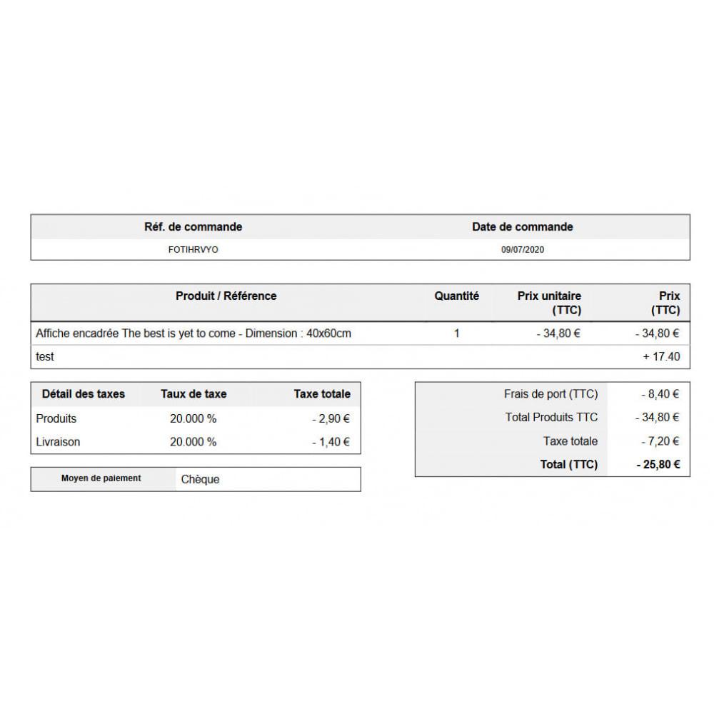 module - Comptabilité & Facturation - Avoir automatique sur les commandes annulées - 3