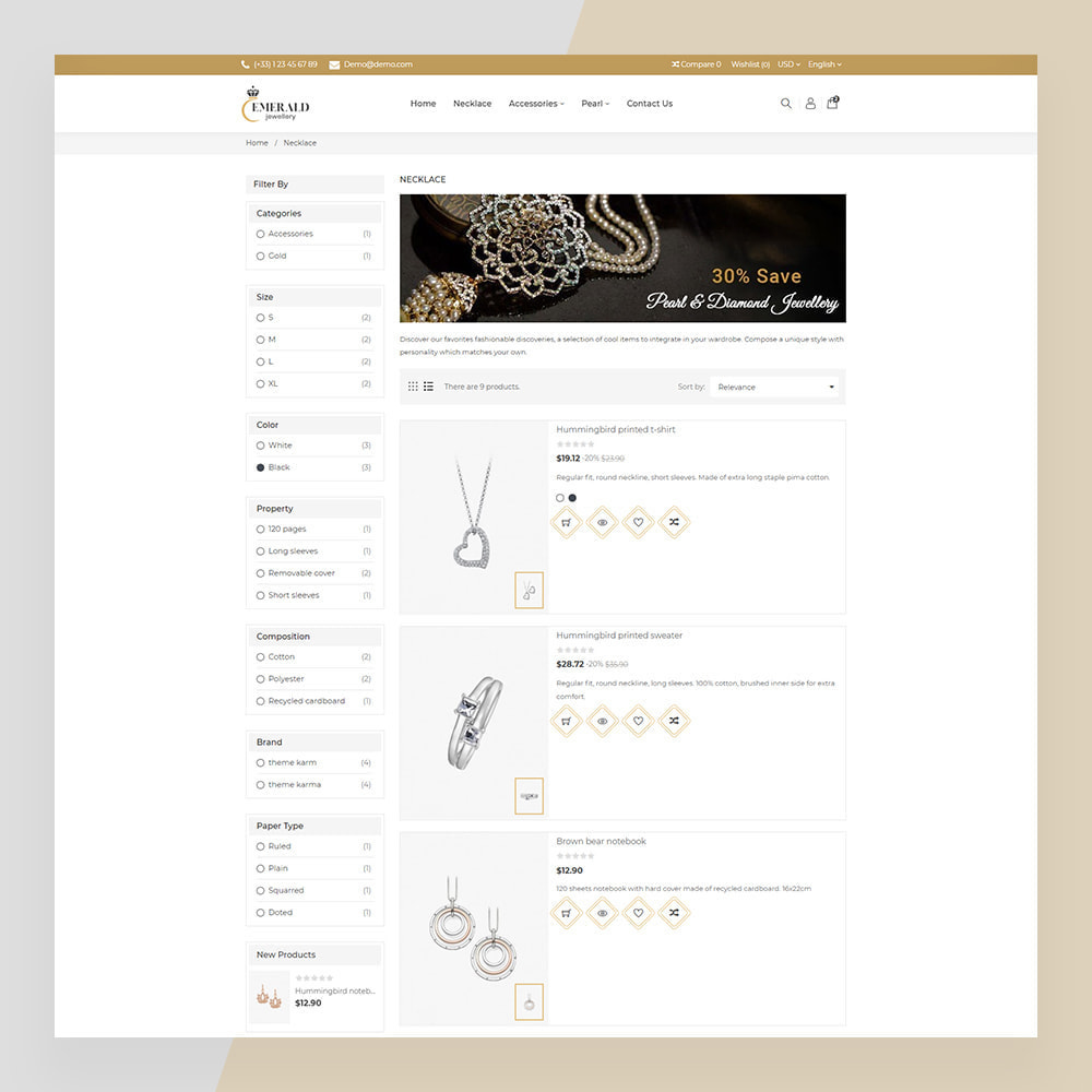 theme - Ювелирные изделия и Аксессуары - Emerald Jewelry - Jewellery & Accessories Template - 8