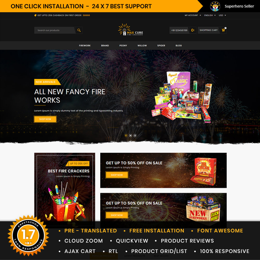 theme - Подарки, Цветы и праздничные товары - Maxcure Fireworks Store - 1