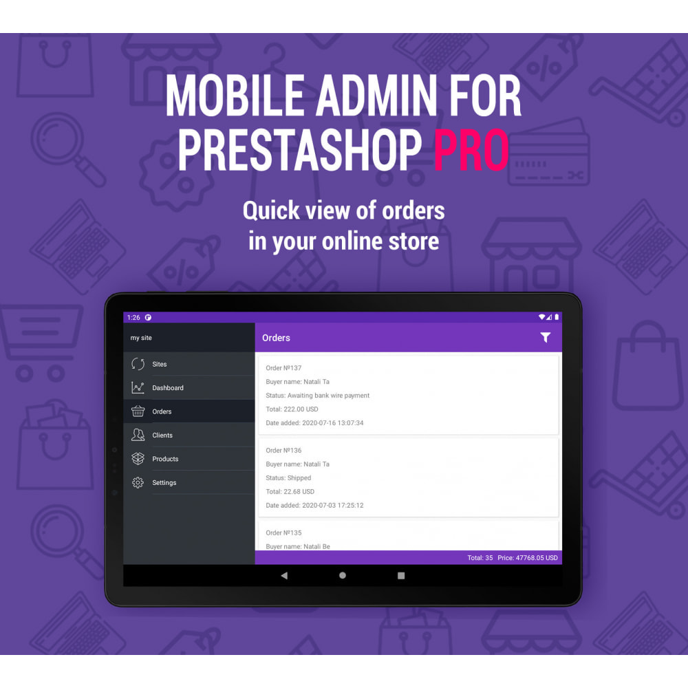 module - Mobiele apparaten - Mobile Admin for unlimited managers, sites iOs&Android - 2