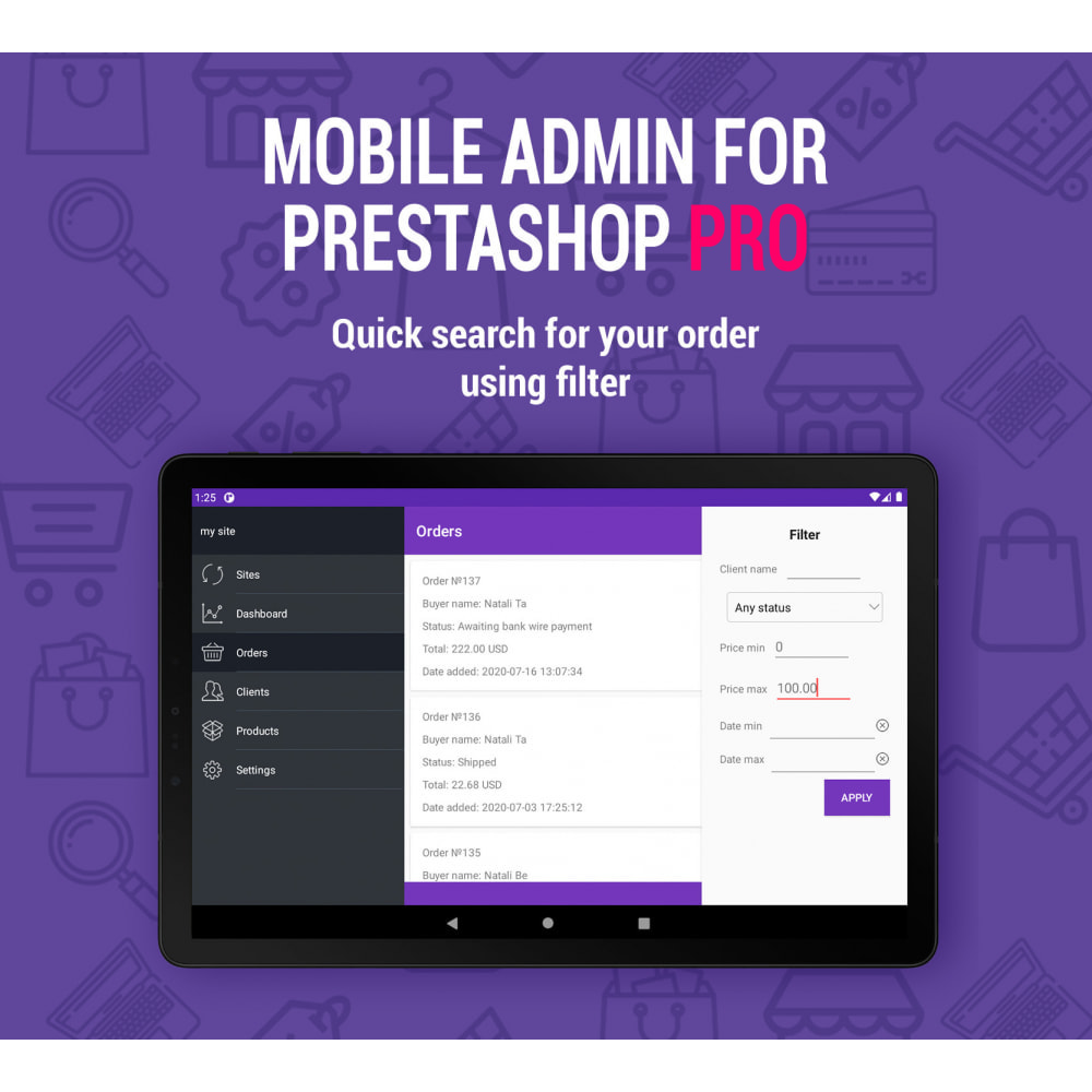 module - Mobiele apparaten - Mobile Admin for unlimited managers, sites iOs&Android - 3