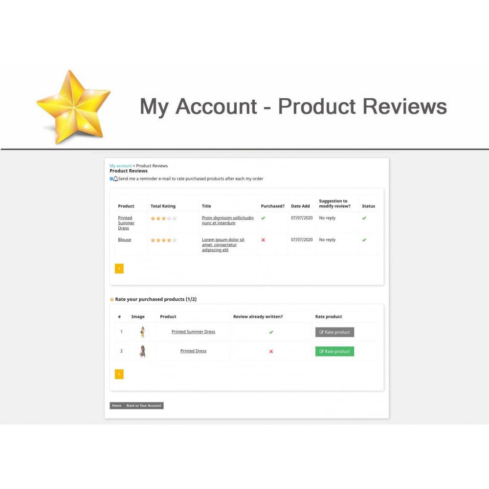 module - Widgets réseaux sociaux - Produit Avis + Programmes fidélité + Profil utilisateur - 15