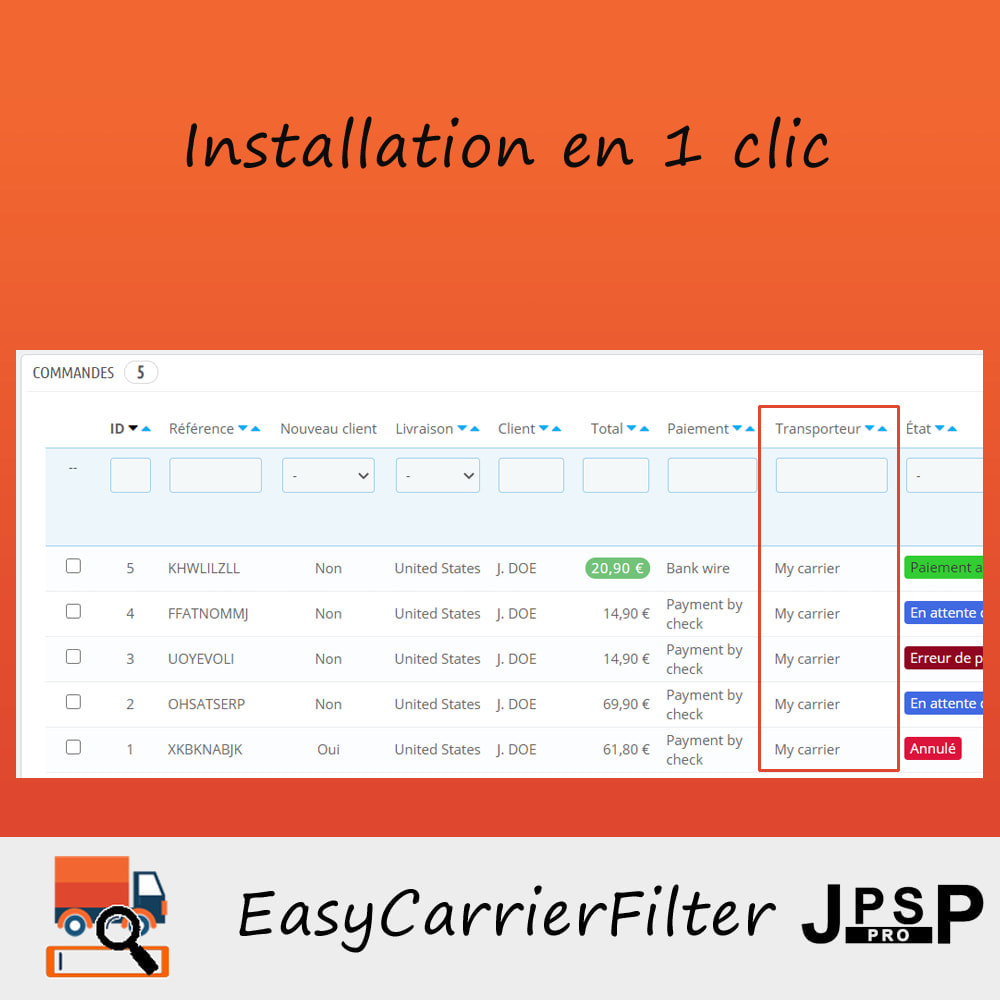 module - Recherche & Filtres - Recherche par transporteur - Easy Carrier Filter - 1