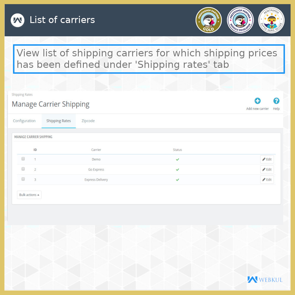 module - Shipping Carriers - Shipping Rates - 13