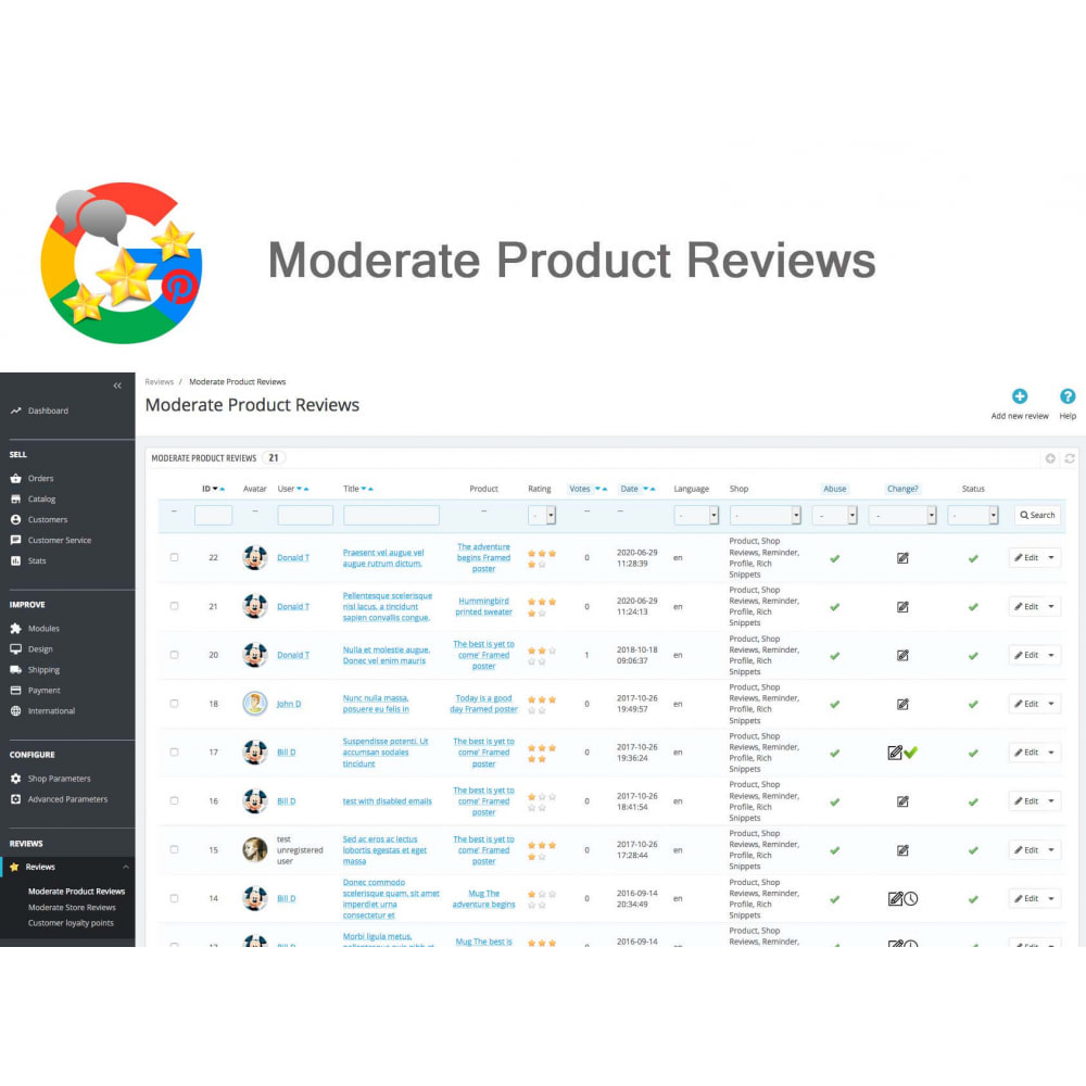 module - Avis clients - Produit+Boutique Avis, Points fidélité, Google Snippets - 32