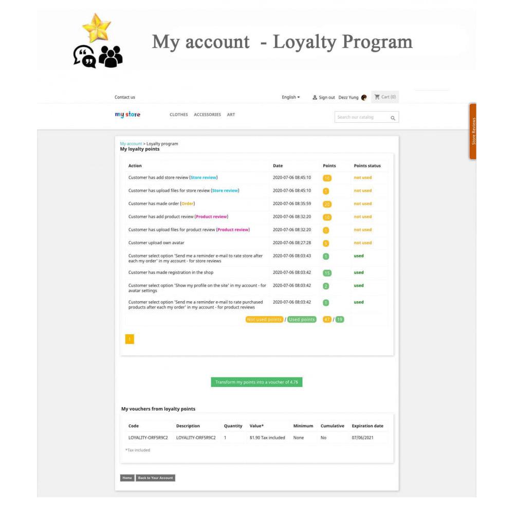 module - Avis clients - Avis sur les produits + Boutique, Programmes fidélité - 22
