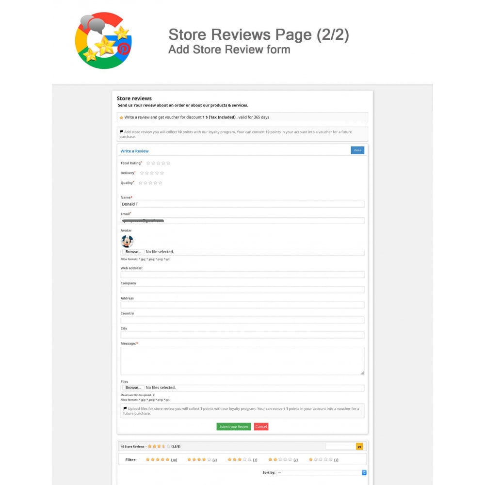 module - Avis clients - Produit+Boutique Avis, Points fidélité, Google Snippets - 14