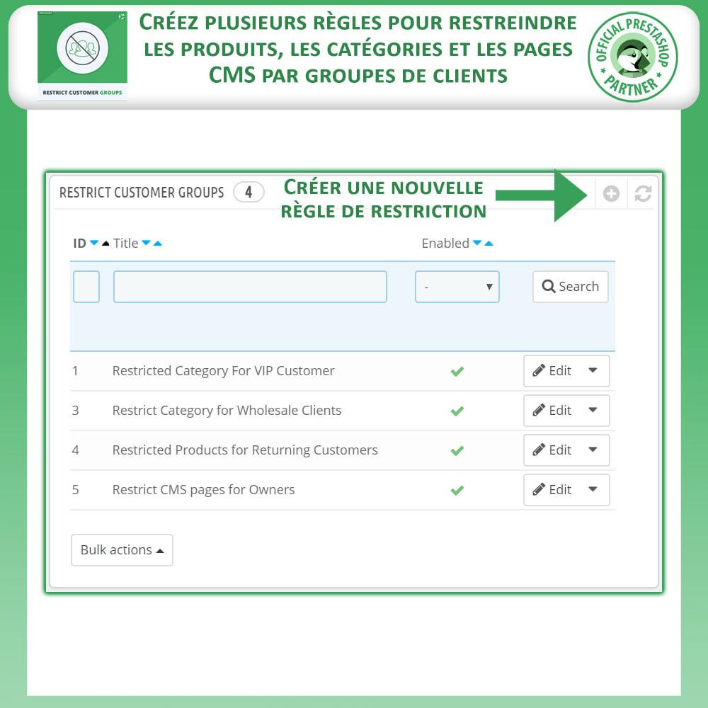module - Information supplémentaire & Onglet produit - Restreindre par Groupe de Clients - Catalogue et CMS - 2