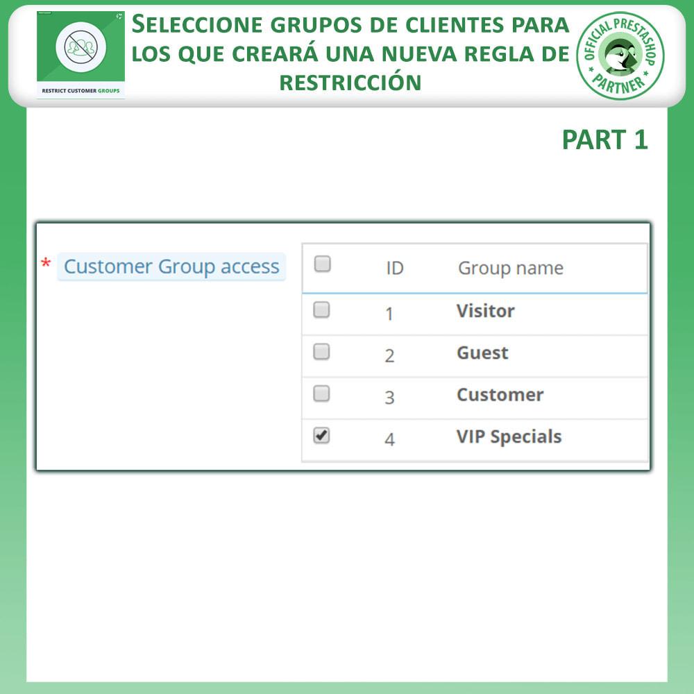 module - Informaciones adicionales y Pestañas - Restringe por grupos de clientes -  Catálogo y CMS - 4