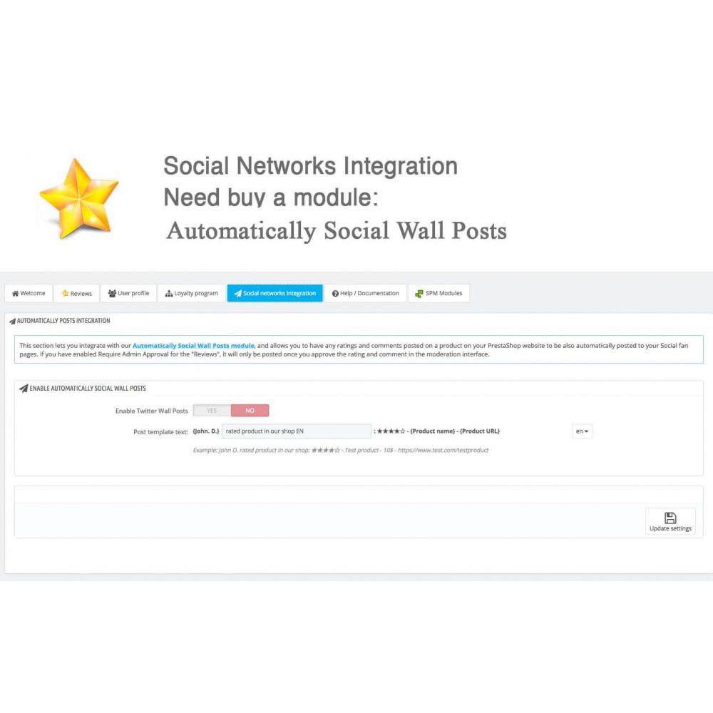 module - Widgets réseaux sociaux - Produit Avis + Programmes fidélité + Profil utilisateur - 41