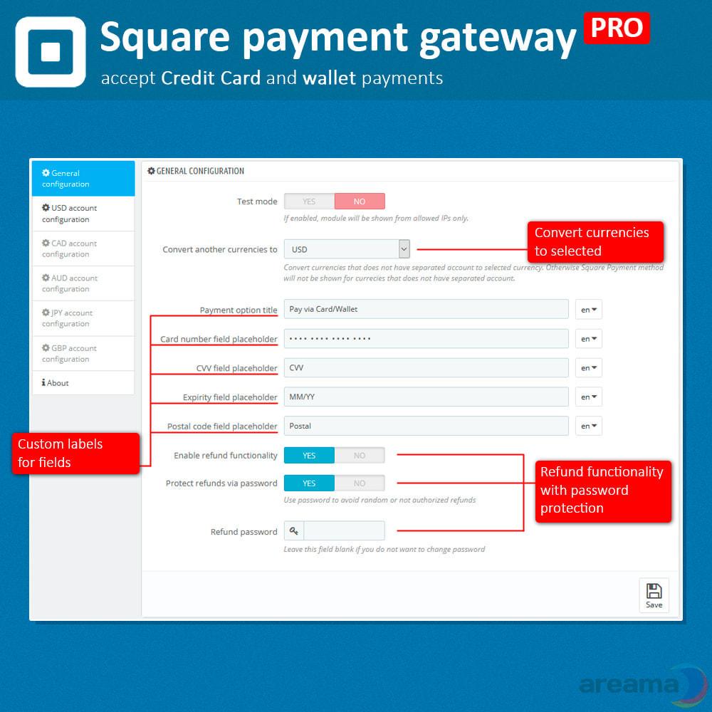 module - Paiement par Carte ou Wallet - Square Payment Gateway PRO - Card and Wallet payments - 3