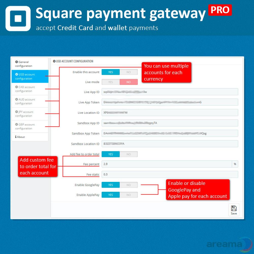 module - Paiement par Carte ou Wallet - Square Payment Gateway PRO - Card and Wallet payments - 4